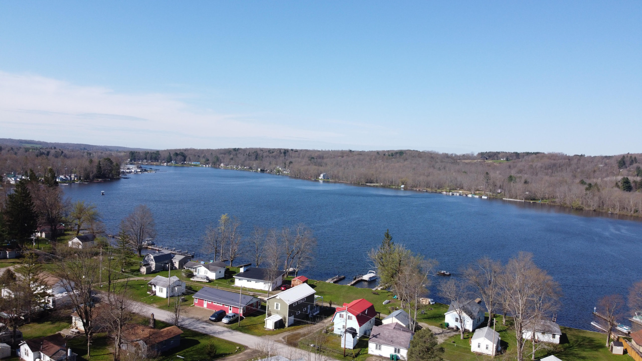 Drone Image Canadohta Lake and Houses